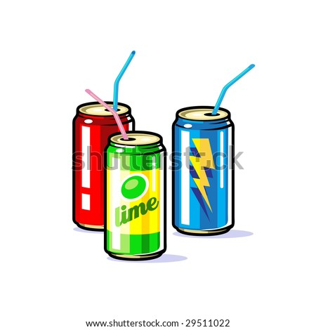 A vector beverages in tin  cans with straws - stock vector