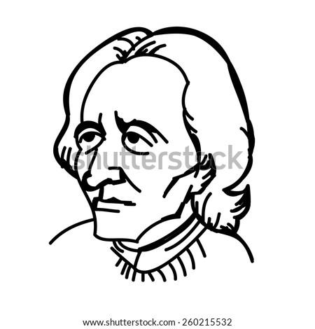 A vector, black and white illustration of John Locke - stock vector