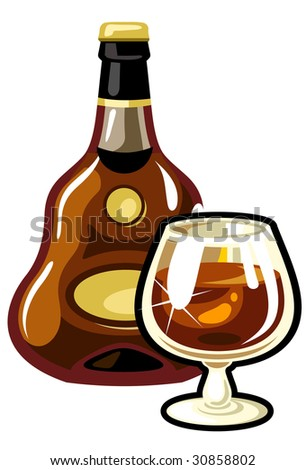 A vector  bottle and a glass of Cognac - stock vector