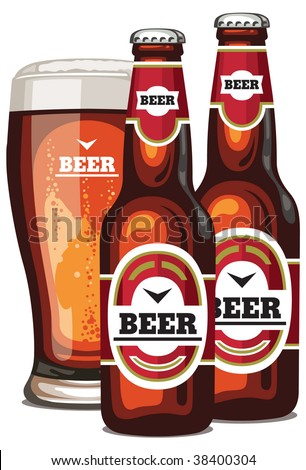 A vector  bottles and a glass of beer - stock vector