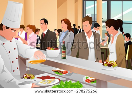 A vector business people eating in a cafeteria - stock vector