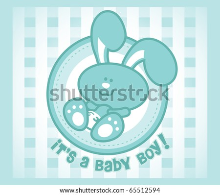 A vector cartoon of a male baby bunny on abstract checkerboard background. Great for baby boy announcement and birthday card. - stock vector