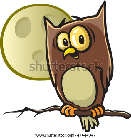 A vector cartoon Owl. Owl and moon are on separate layers.
