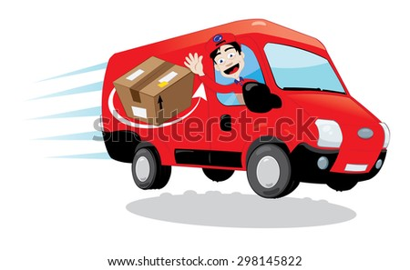 a vector cartoon representing a funny and friendly delivery man cheering and driving a red delivery van - fast shipping concept.