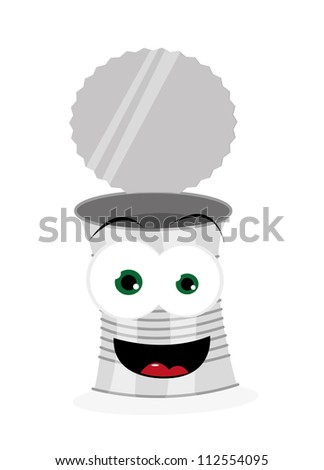 a vector cartoon representing a funny can, smiling and looking at camera