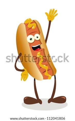 a vector cartoon representing a funny hot dog - stock vector
