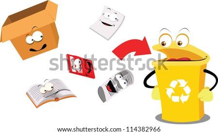 a vector cartoon representing a funny recycling bin - stock vector