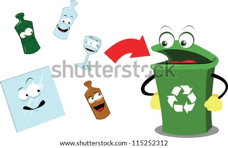 A vector cartoon representing a funny recycling bin and some glass objects - stock vector
