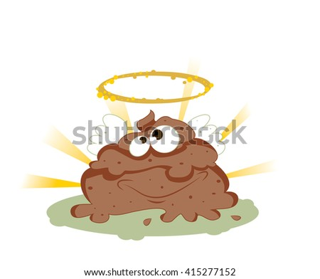 a vector cartoon representing a funny smiling holy shit with eyes and mouth, brown color with wings a golden halo, on a shiny rays background. - stock vector