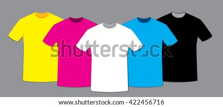 a vector cartoon representing a group of blank t-shirts templates in different colors: white, black, cyan, yellow and light blue - stock vector