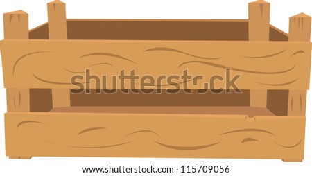 a vector cartoon representing a wooden crate. The front part and the back are in different layers, so you can easily put items inside of it. - stock vector