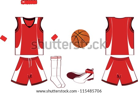 A vector cartoon representing basket game accessories and clothing, every object is singly grouped - stock vector