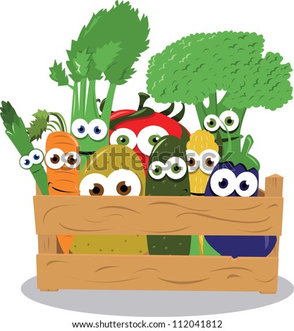 a vector cartoon representing some funny vegetables in a wooden box - stock vector