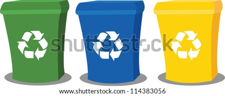 a vector cartoon representing three recycling bins in different colours - stock vector