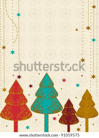 A vector Christmas & new year card with colorful tree,snow flake and stars for Christmas & other occasions. - stock vector