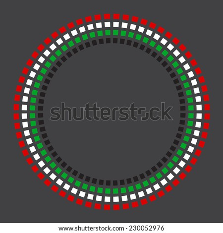 A vector circular border made with United Arab Emirates flag colors on dark background. - stock vector