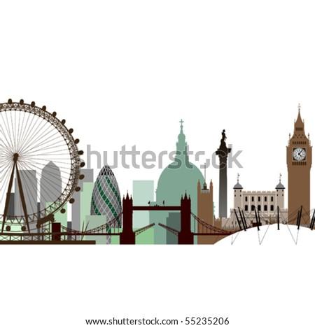 A Vector Cityscape of London - stock vector