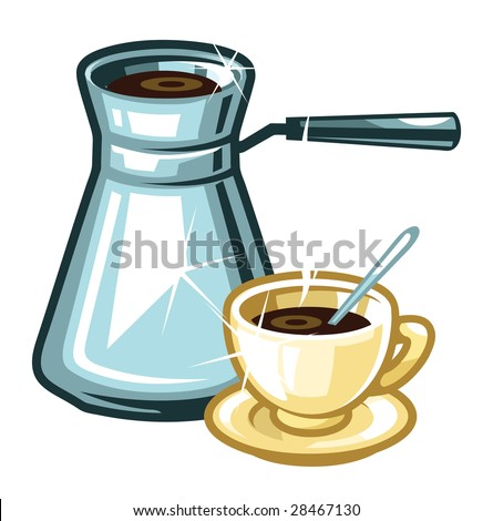 A vector coffee-pot and a cup of coffee - stock vector