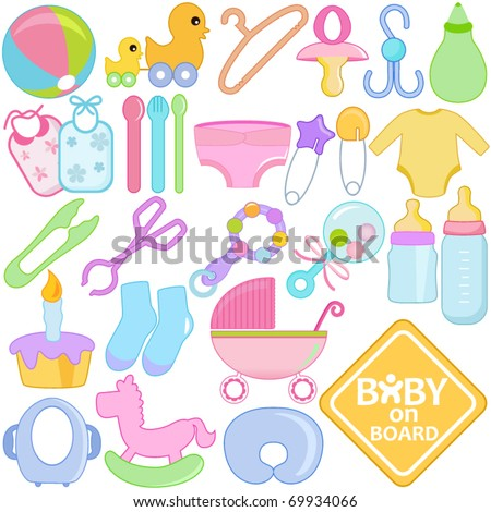 A vector collection of Accessories for Mom and Baby : Tools in Pastel  - stock vector