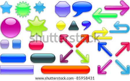 A vector collection of colored web buttons.