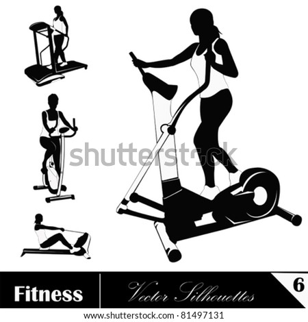 A  vector collection of fitness silhouettes - stock vector