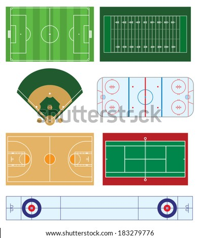 A vector collection of overhead sports fields.