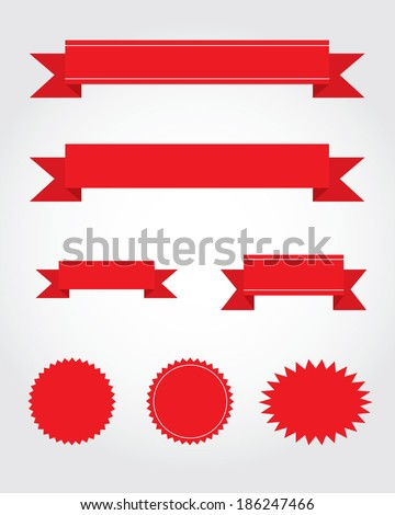 A vector collection of red ribbon, starburst and attention grabber design elements - stock vector