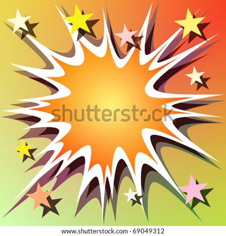 A Vector Comic Book Explosion Background with Stars - stock vector