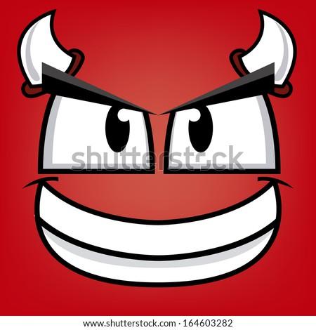 A Vector Cute Cartoon Devil Smiling Face - stock vector