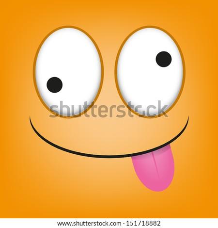 A Vector Cute Cartoon Orange Face With Tongue Out - stock vector