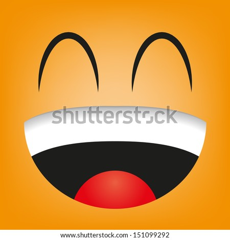A Vector Cute Cartoon Orange Laughing Face - stock vector
