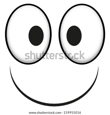 A Vector Cute Cartoon White Happy Face - stock vector