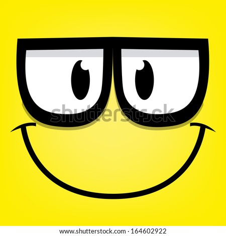 A Vector Cute Cartoon Yellow Face With Glasses - stock vector