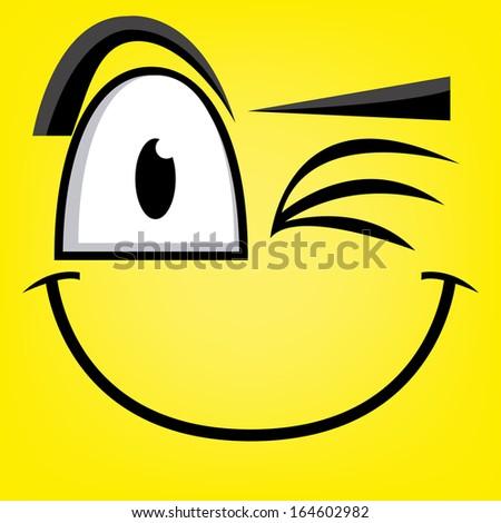 A Vector Cute Cartoon Yellow Winking Face - stock vector