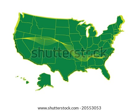 A vector detailed map with states in different layers. - stock vector