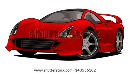 A vector drawing of a red modern exotic sports car. - stock vector