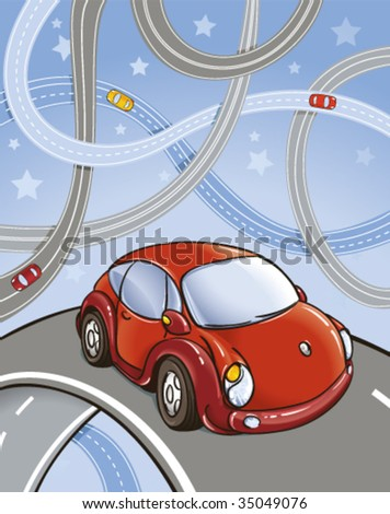 A vector drawing with cars on roads - stock vector