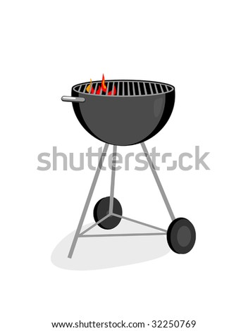 A vector graphic illustration of a barbecue grill.