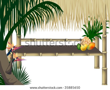 A vector graphic illustration  of a tiki hut ready for a tropical party.