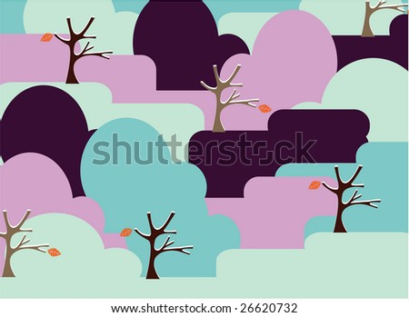 A vector illustration card design of a simple shape landscape with trees and leaves - stock vector