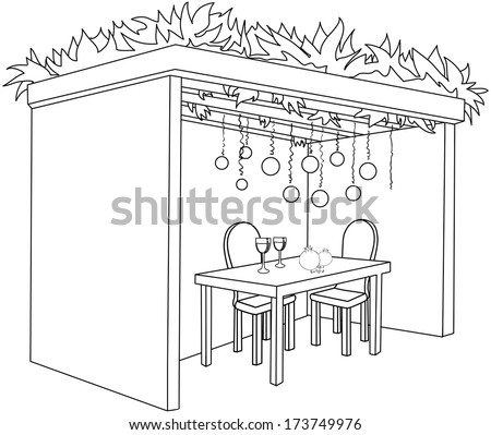 A Vector illustration coloring page of a Sukkah decorated with ornaments and a table with glasses of wine and fruits for the Jewish Holiday Sukkot.  - stock vector
