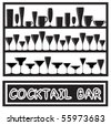 A vector illustration for a cocktail bar poster with glass silhouettes, in black and white - stock vector