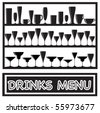 A vector illustration for a drinks menu with glass silhouettes, in black and white - stock vector