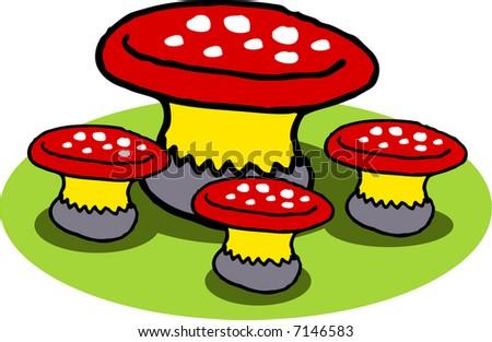 Vector Illustration Set Mushroom Table Chairs Stock Vector (2018 ...