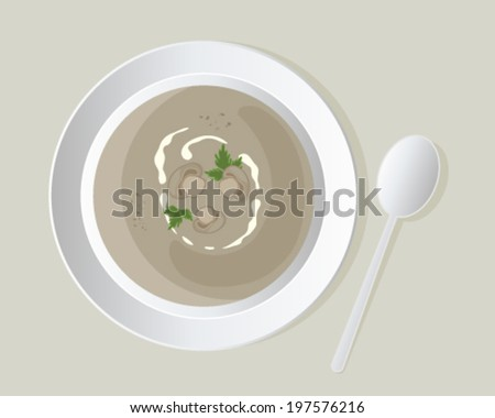 a vector illustration in eps 10 format of a a bowl of delicious mushroom soup with mushroom slices and coriander leaves in white crockery on a beige background - stock vector