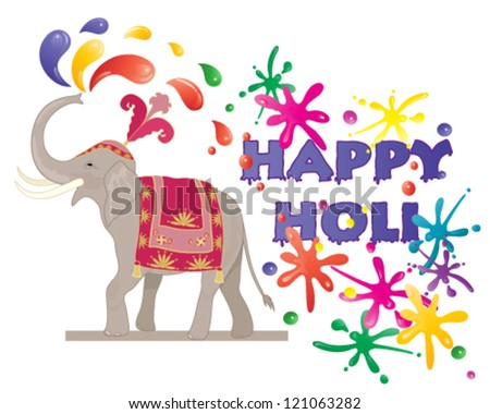 a vector illustration in eps 10 format of a ceremonial elephant spraying colorful paint to celebrate the hindu festival of holi isolated on a white background - stock vector