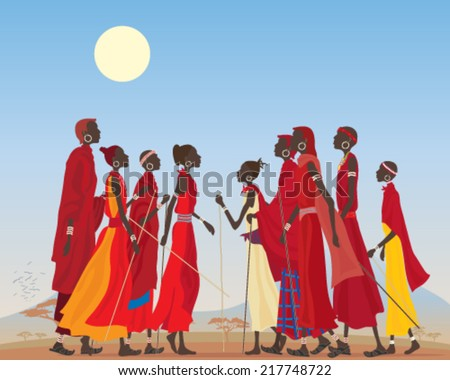 a vector illustration in eps 10 format of a group of masai men and women in traditional clothing in an arid african landscape - stock vector