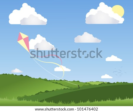 a vector illustration in eps 10 format of a person flying a colorful kite in a beautiful summer landscape with white fluffy clouds and a blue sky