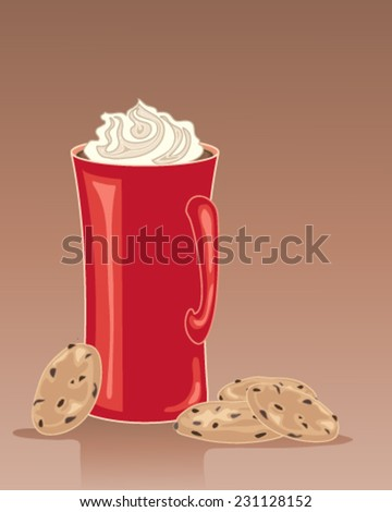 a vector illustration in eps 10 format of a tall red mug of hot chocolate drink with whipped cream and some chocolate chip cookies on a brown background - stock vector