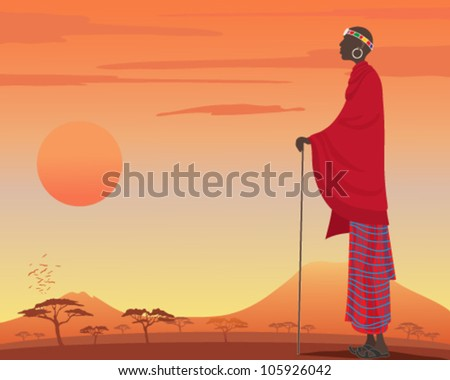 a vector illustration in eps 10 format of a traditionally dressed masai man with red robes and colorful head dress watching over a beautiful kenyan sunset - stock vector